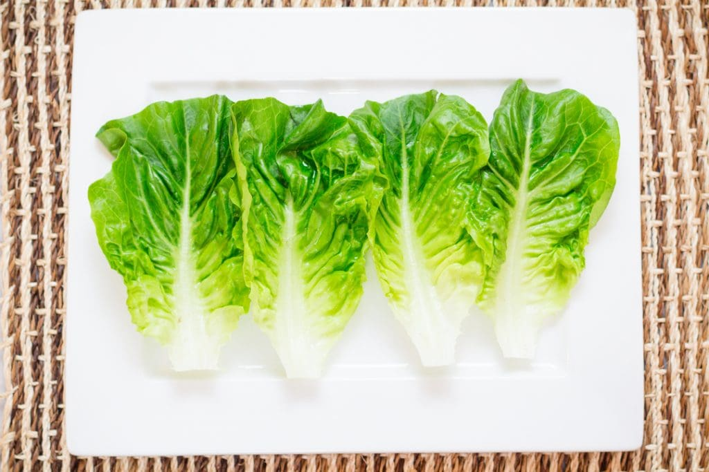 Lettuce Wrap Recipe lettuce leaves on plate