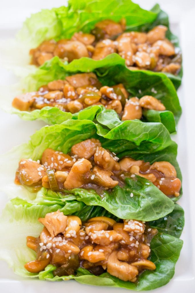 Cashew Chicken Recipe served on Lettuce