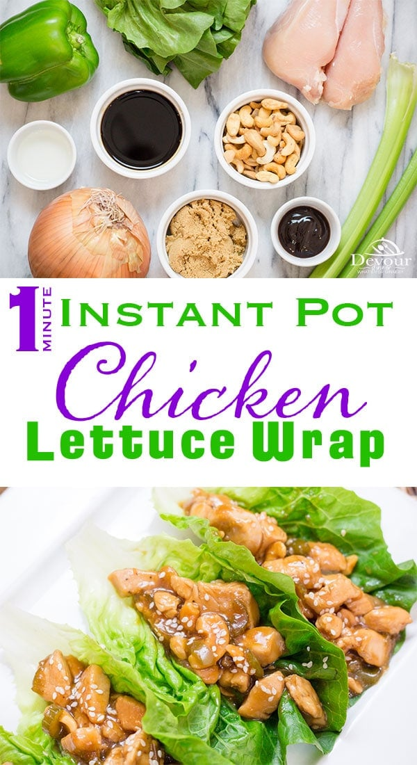 The Holiday's are over and you are looking to detox, Cashew Chicken Lettuce Wraps are amazing! This Instant Pot Recipe takes 2 minutes to cook on High Pressure and you will be eating in no time. With very little prep work, Cashew Chicken Wraps are perfect for Lunch or dinner or even just a snack. Easy Recipe anyone can make. #easyrecipe #Cashewchickenwrap #lettucewrap #devourdinner #lowcarb #GF #glutenfree #Yum #recipe #recipes #food #foodie #Instantpot #instantpotrecipe #chinesetakeout