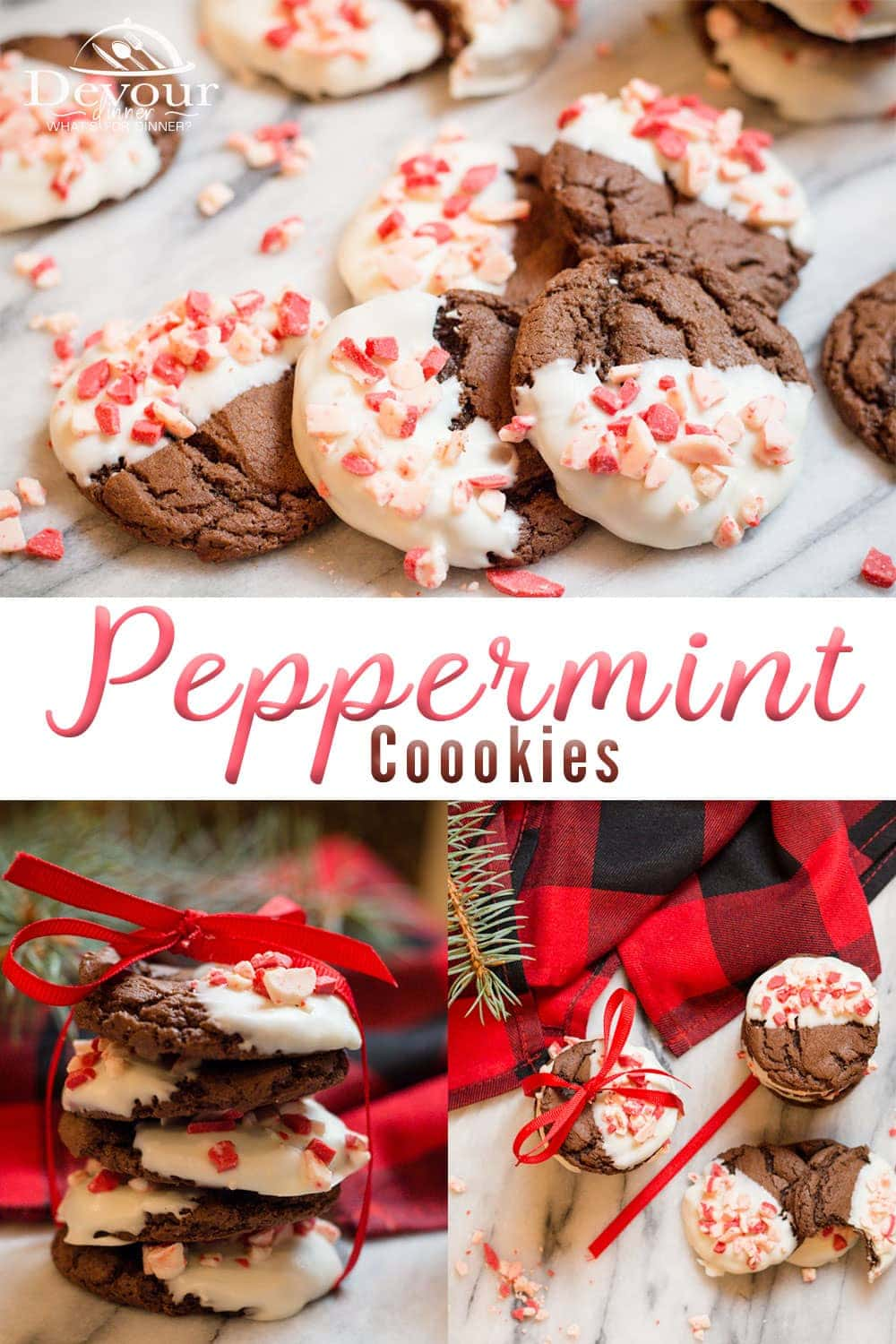 Chocolate Chewy Cookies are perfect dipped in white chocolate and sprinkled with Andes Peppermint Pieces. Holiday Cookie that is delicious! We love this cookie recipe that uses 3 ingredients, so many possibilities. #easycookierecipe #cookie #cookies #peppermintcookies #easyChristmascookies #chocolate #chocolatecookies #holidaycookies #holidaydessert #christmasdessert #Peppermint #andesmints #devourdinner #yum #easydessert #easyrecipe #easyprep #feedfeed #Recipes #recipe #inmykitchen #foodie