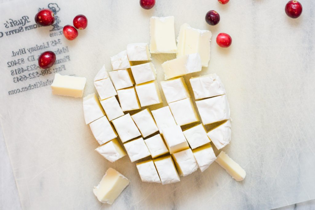 Brie Cheese Cubed for Cranberry Bites Appetizer