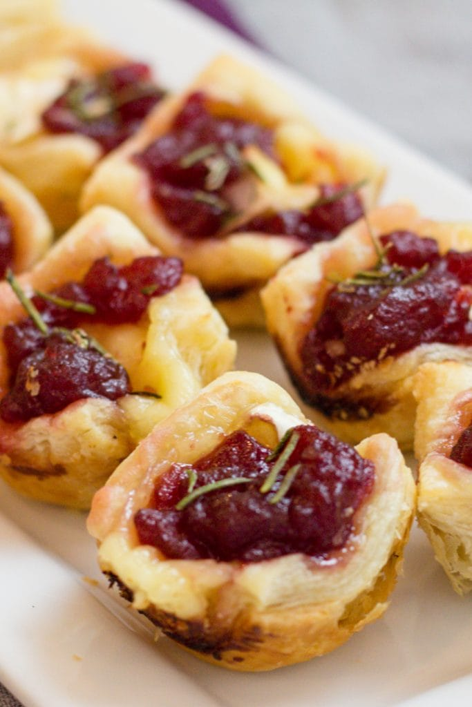 Cranberry Brie Bites, Small Bite Appetizer made with Puff Pastry