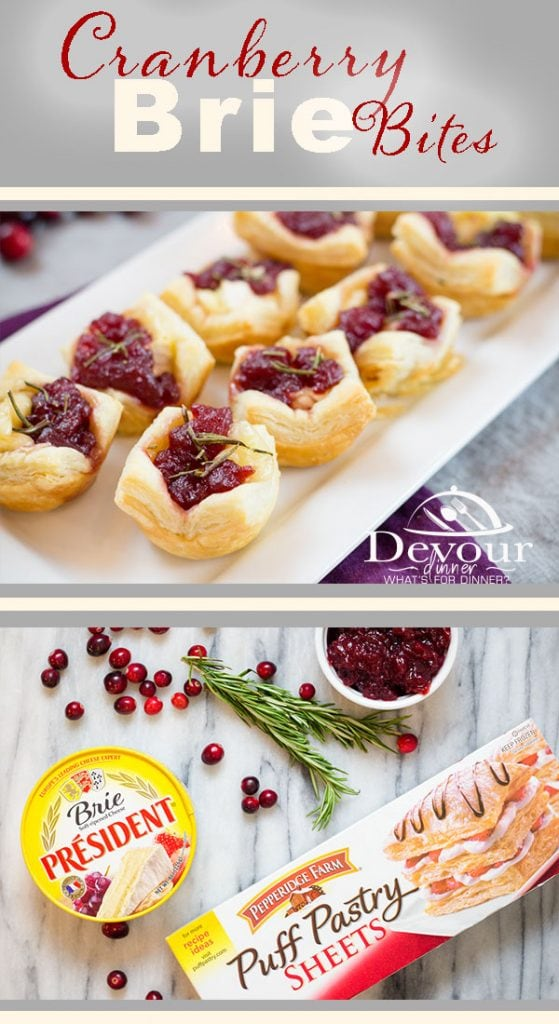 Cranberry Brie Bites Appetizer made with Puff Pastry #cranberrysauce #Pepridgefarms #PuffPastry #devourdinner #Appetizerrecipe #easyrecipe #easyappetizer #NYE #NYEAppetizer