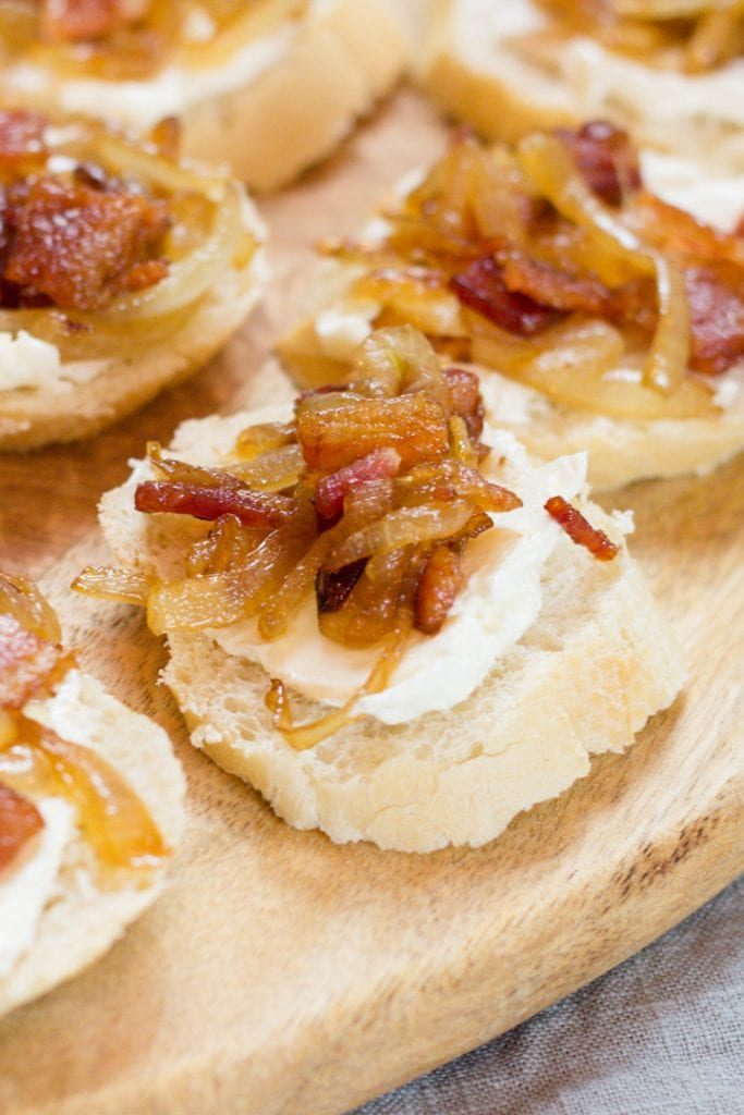 Bacon Onion Appetizer Small Bite Party Food on Baguette