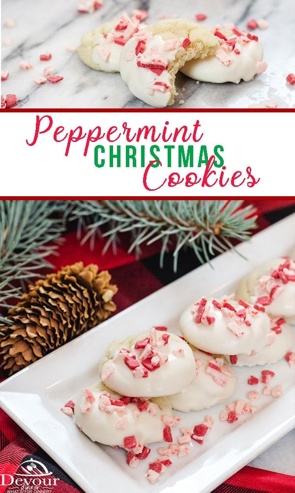 Peppermint Christmas Cookies, a soft sugar cookie dipped in white almond bark sprinkled with Andes Peppermint Chocolate pieces. A light cookie perfect for the holiday gift giving or enjoying with the family. #christmastcookie #christmascookies #easycookies #easycookierecipe #cookie #cookierecipe #devourdinner #dessert #holiday #Baking #sugarcookie #neighborgift #andesmints #chocolate #whitechocolate #easyprep #inmykitchen #feedfeed #kidapproved #easyrecipe #yum #inmytummy