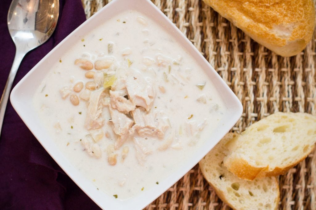 White Chicken Chili with great northern beans and a creamy sauce