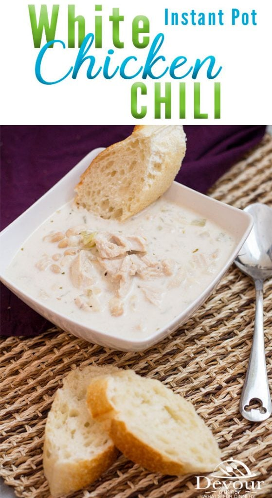 White Chicken Chili Recipe, a cream white chicken chili with great northern white beans in a creamy sauce. A Delicious soup made easily in the Instant Pot #Whitechickenchili #whitechickenchilirecipe #whitechickenchilirecipes #easychilirecipe #instantpot #instantpotrecipe #easydinnerrecipe