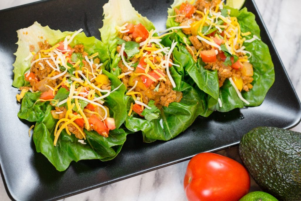 Ground Turkey Tacos Lettuce Wrap, low carb, gluten free, and Keto Friendly Recipe for Instant Pot