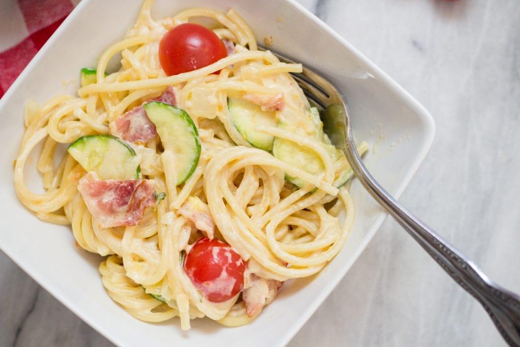Pasta with Zucchini and Cheery Tomatoes