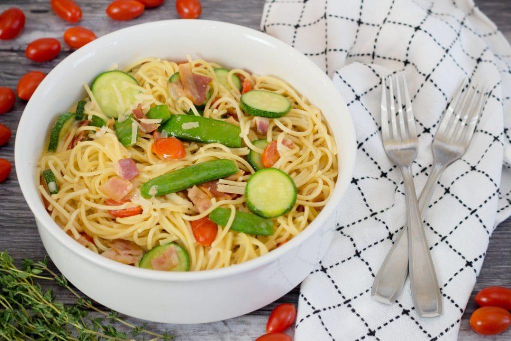 Parmesan Zucchini Pasta with Zucchini and Cheery Tomatoes
