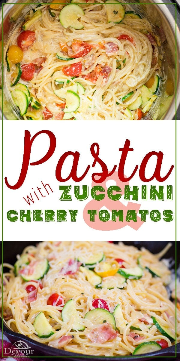 Make it a meal with under 300 Calories or a delicious Side Dish, Pasta with Zucchini and Cherry Tomatoes is light and refreshing and very delicious. Packed with fresh vegetables, this lighter side pasta is wonderful. #devourdinner #Pasta #sidedish #Lightrecipe #easyRecipe #instantpot #instantpotrecipe #yum #yummy #recipe #recipes #Food #foodie #Foodblogger #dinnerrecipe #easydinner #pastarecipe #Zucchini #CherryTomatoes #Letseat