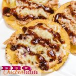 BBQ Chicken Tostada with melted cheese, pineapple, and red onion