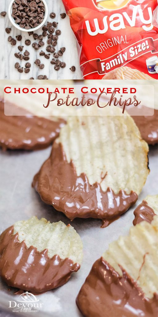 Chocolate Dipped Potato Chips will appeal to both your sweet tooth and the salty cravings you have. Dip these potato chips to wow your tastebuds for a fun sweet and salty taste. #devourdinner #dessert #easydessert #chocolatedippedchip #chocolate #snack #dippedchocolate #easyrecipe #kidfriendly #kidapproved #recipe #recipes #food #foodie #yum #yummy #instantpot #instagood #pressurecooker