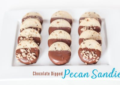 Chocolate Dipped Pecan Sandies Cookies