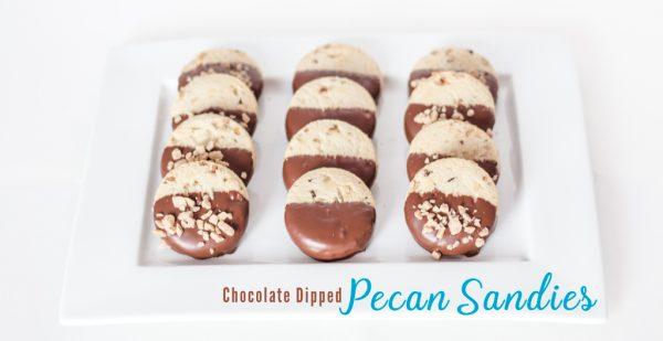 Chocolate Dipped Pecan Sandies Cookies