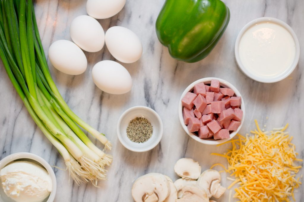Denver Quiche Ingredients on cutting board