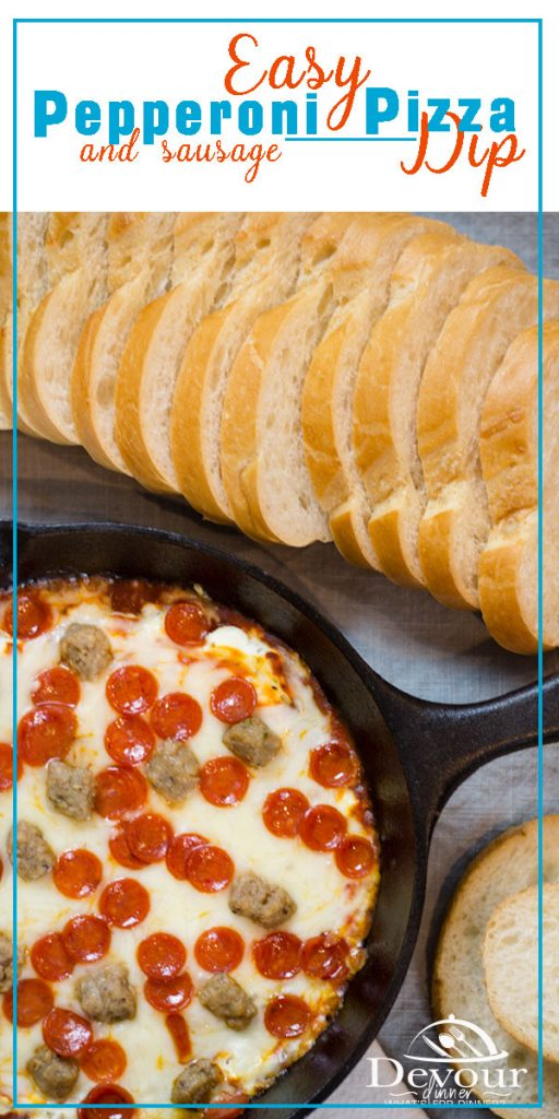 Easy Pizza Dip with Sausage and Pepperoni, Hot Cream Cheese Dip to make for Super bowl or any party