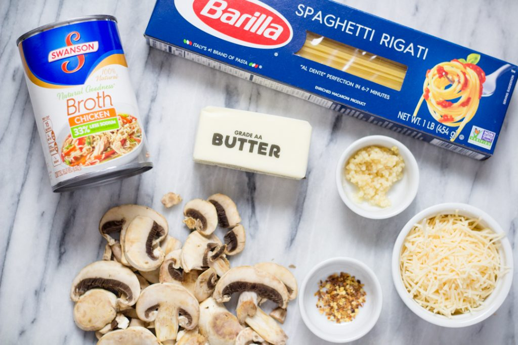 Mushroom Garlic Noodles Ingredients Flatlay
