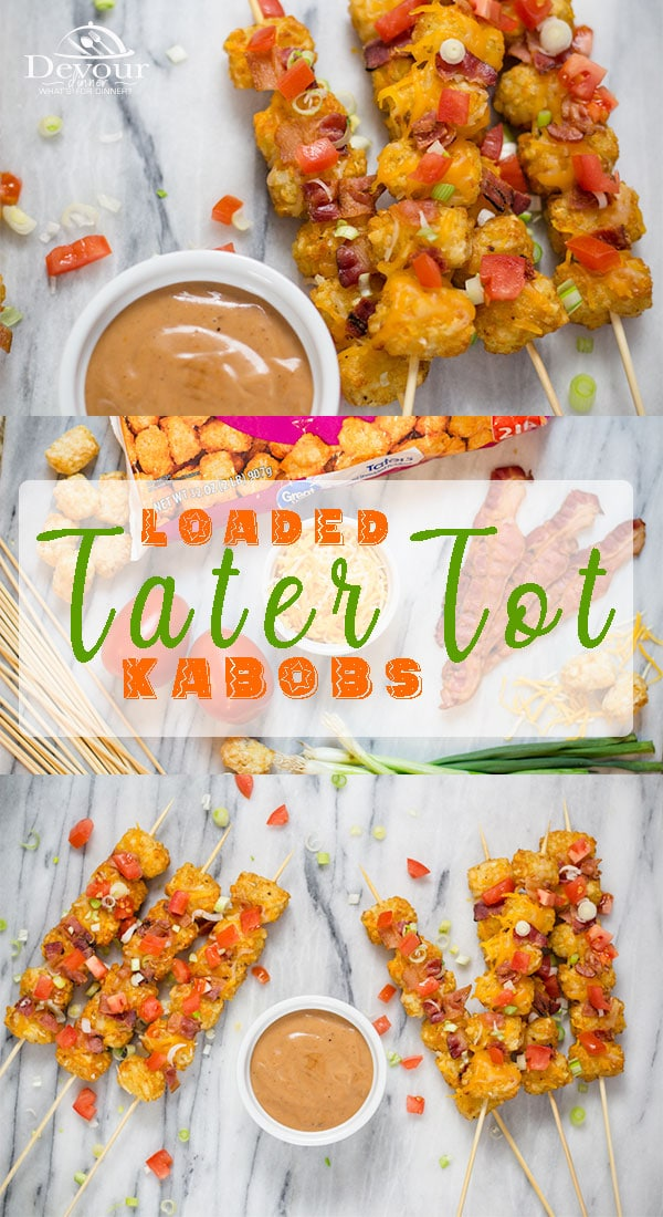 Eating food on a stick is more fun. Loaded Tater Tot Kabobs is a fun way to eat Tater Tots either as a side dish to a meal or an appetizer. This super simple recipe will be a family favorite for sure. #devourdinner #sidedish #sidedishrecipe #appetizer #appitizerrecipe #recipe #recipes #food #Foodie #snack #easyrecipe #yum #inmytummy #Kabob #kabobs #kidapproved