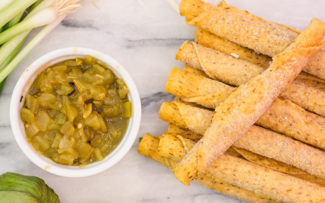 Quick and Easy Frozen Chicken Taquitos with Fresh Tomatillo Salsa