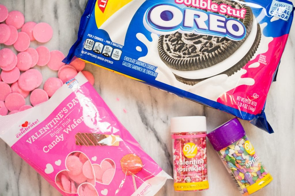 Valentine OREOs with heart sprinkles