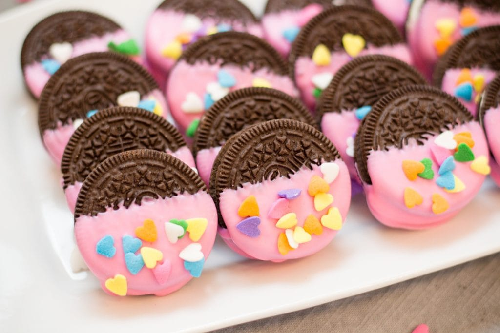 Valentine Oreos dipped in Pink Wafer Candy