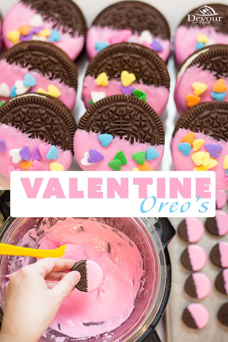 Valentine OREOs are a PERFECT treat to make with your littles or to surprise them for Valentines Day with some extra love. Fun and easy Craft and Eat Treat for School Parties too. So many possibilities with this 3 ingredient recipe. Melt Chocolate using the Instant Pot quick Hack Tip for the perfect melted chocolate wafer. #devourDinner #Easyrecipe #dessert #easydessert #Valentinesday #valentines #love #easydessertrecipe #recipe #recipes #food #foodie #Yum #feb14 #OREO #DippedOREO #valentineoreo