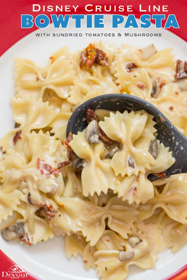 Being spoiled on a cruise is wonderful and bringing back your favorite lunch recipe is even better. This Bowtie Pasta with sautéed mushrooms and sun-dried tomatoes in a light cream sauce is a perfect lunch. Instant Pot directions made quick and easy. Try it, you will love it. #disney #disneycruiseline #DCL #Devourdinner #Instantpot #easyrecipe #lunchrecipe #lunch #recipe #copycatrecipe #bowtiepasta #creamsauce #yum #yummy #food #Foodie #sundriedtomatoes #mushroom #Dinner #easydinner #tasty