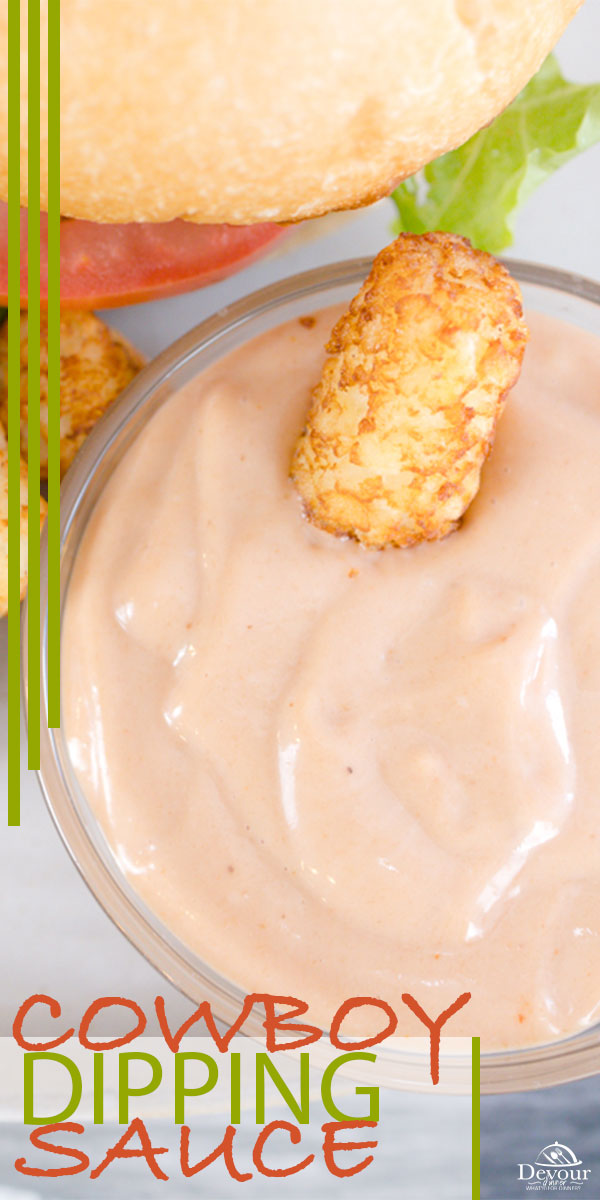 If you love to dip your foods, then the Cowboy Dipping sauce is perfect for so many recipes. This 2 ingredient recipe will have you hooked in no time with the sweetness from the BBQ Sauce and the creamy herbs from Ranch Dressing. We love to dip Tater Tots, French Fries, Onion Rings, or Put on Burgers and Hot Dogs. #spread #familyrecipe #BBQ #buzzfeast #yum #devourdinner #cowboysauce #BBQ #Mayo #Frenchfries #dippingsauce #food #foodie #easyrecipe #dippingsaucerecipe #recipe #recipes #yum #yummy
