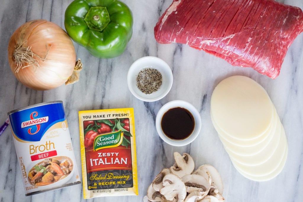 Philly Cheese Steak Sliders Ingredients Flat Lay
