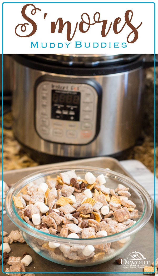 The smell of Campfire and melted marsh mallows is a smell of summer camping that I love! But why not bring S'mores indoors with these S'mores Muddy Buddies? #chexmix #chex #muddybuddies #smores #chocolate #instantpot #pressurecooking #devourdinner #recipe #recipes #easyrecipe #easydessert #chocolate #snackmix #trailmix #food #foodie #familyfriendly #kidapproved #yum #yummy #foodiefriday