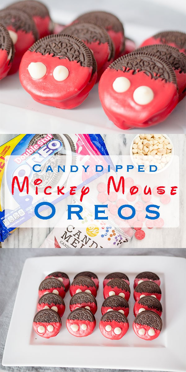 Mickey Mouse, a household character by Disney that will always bring a smile. Dipping Oreos in red candy with white chocolate buttons for Mickey's famous iconic pants. We love making this simple treat, just for fun or a special occasion. #cookies #dippedcookies #chocolatedippedcookies #OREOs #dessert #easydessert #recipe #instantpot #instantpotrecipe #meltchocolate #treat #snack #yum #inmytummy #disney #mickeymouse