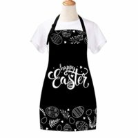 Claswcalor Happy Easter Day Cooking Aprons,Easter Egg Aprons Black and White Kitchen Aprons, Waterproof Adjustable Baking Aprons for Women