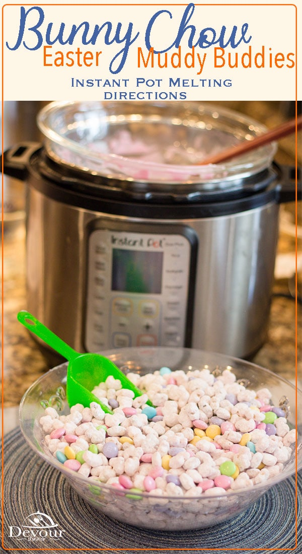 Celebrate Easter with Bunny Chow, a Muddy Buddies Snack Treat made with Annies Friends and Bunny Cereal. Families love this snack mix and the recipe is so easy to make using an Instant Pot to melt chocolate or candy wafers. #instantpot #recipe #recipes #devourdinner #muddybuddies #snackmix #snackrecipe #easter #bunnychow #chexmix #easyrecipe #dessert #dessertrecipe #kidapproved #familyfriendly #chexmix #chex #yum #yummy #food #foodblogger via @devourdinner
