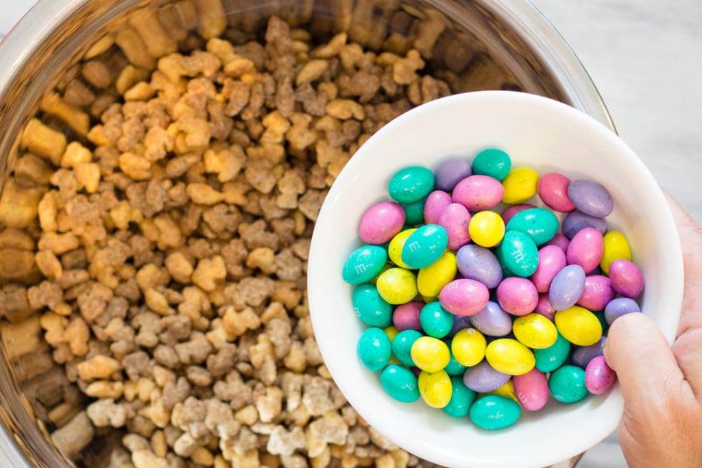 Puff Cereal and Peanut Butter M&M's for Trail Mix Recipe
