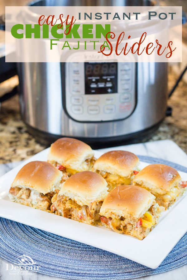 Sliders! An amazing small bite sandwich perfect for hosting game night, watching sports or even a quick meal. Chicken Fajita Sliders with a creamy Cilantro Lime Dip will make your tastebuds scream for more! Don't walk, RUN for seconds or they will be gone. I promise. #chicken #Chickenfajitas #instantpot #instantpotrecipe #recipe #recipes #devourdinner #dinnerrecipe #easyrecipe #hawaiianrolls #appetizer #rolls #mexican #fajitas #fajita #food #foodie #30minutemeal #easymeal #kidapproved via @devourdinner