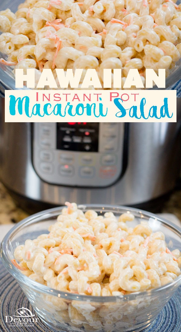 Hawaiian Macaroni Salad is served on a traditional Hawaiian Lunch Plate with Teriyaki and Sticky Rice. The mild flavors enhance the rest of the meal and add a perfect balance of flavors. Recipe adapted for Instant Pot / Pressure Cooker #devourdinner #Hawaiian #InstantPot #recipeoftheday #yum #recipe #recipes #easyrecipe #easysidedish #lunchplate #pastasalad #devourpower #easypastasalad #hawaiianmacsalad #sidedish #sidedishrecipe #Instanpotrecipe #food #foodie #sweetandtangy #easylunch #yum