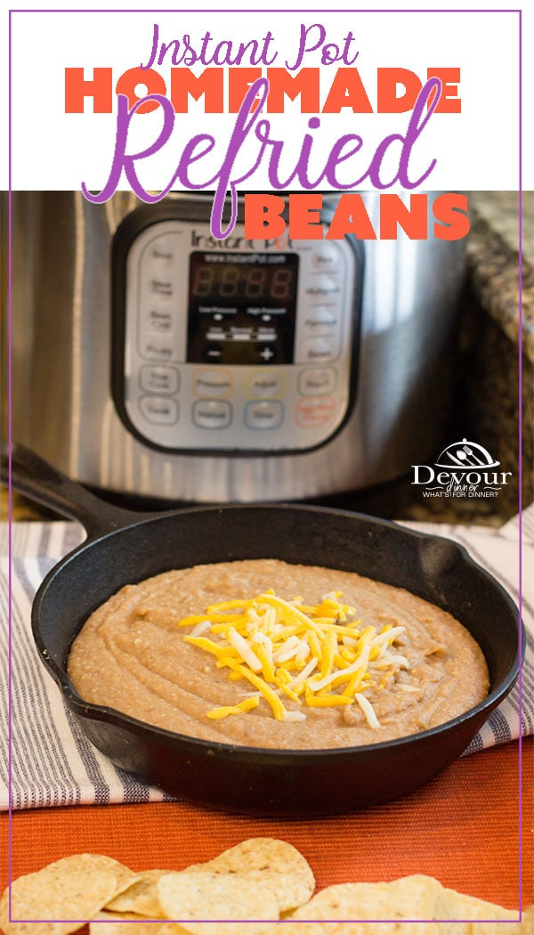 Making Homemade Refried Beans just got easier with this super simple Instant Pot Recipe. I was skeptical, but let me tell you that eating Homemade Refried Beans is sooo good! Honestly, why buy canned when you can make refried beans this quick. #instantpot #instantpotrecipe #refriedbeans #mexicanbeans #easyrecipe #easyrefriedbeans #devourdinner #sidedish #sidedishrecipe #chipsanddip #food #foodie #recipe #recipes #yum #yummy