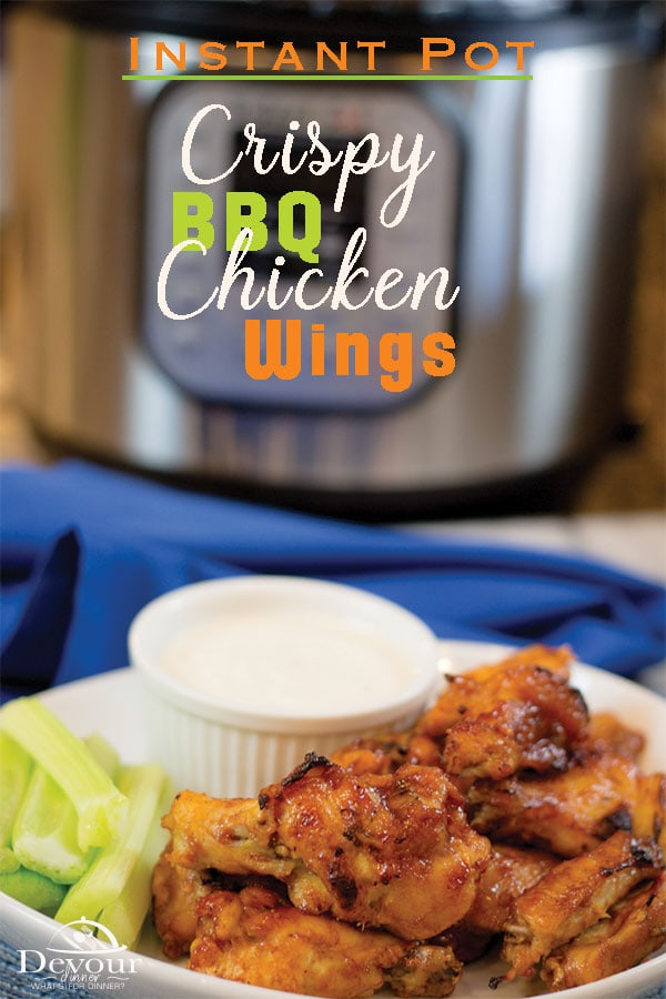 Crispy and Delicious, Honey BBQ Chicken Wings for the Instant Pot Pressure Cooker. Making Chicken Wings just got easier with the Presser Cooker and a CrispLid Air Fryer. WOW! Season your Chicken Wings and Pressure Cook and then let the Air Fryer crisp the outsides of these mouthwatering appetizers or quick snacks. #instantpot #pressurecooker #multipot #devourdinner #chickenwings #BBQChickenwings #HoneyBBQChickenwings #crispychickenwings #easychickenwings #Recipe #recipes #Food #easyappetizerrecipe #easyappetizer #instagood #foodiefriday #Yummy via @devourdinner
