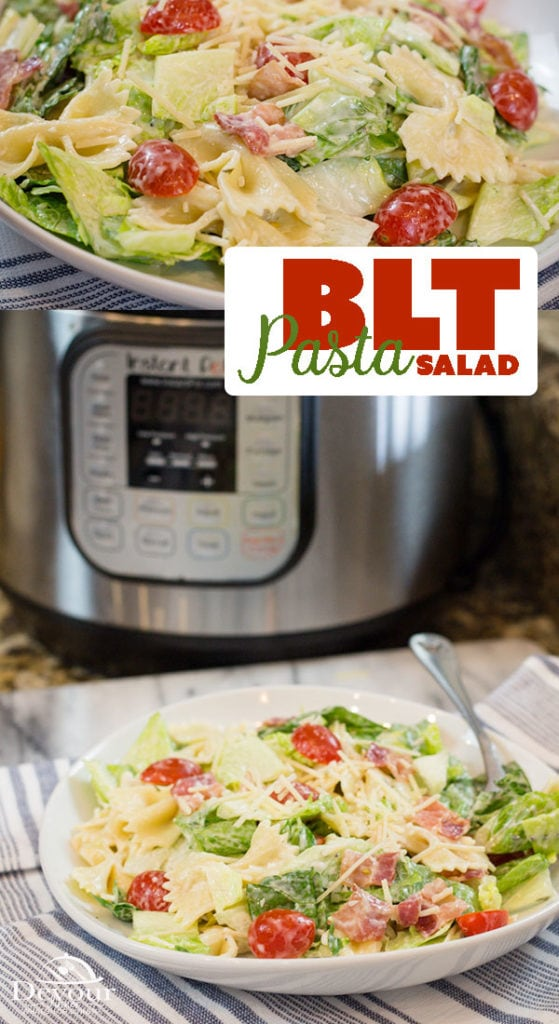 BLT Pasta Salad, a creamy pasta salad perfect for potluck events with Tomato, Lettuce and bacon