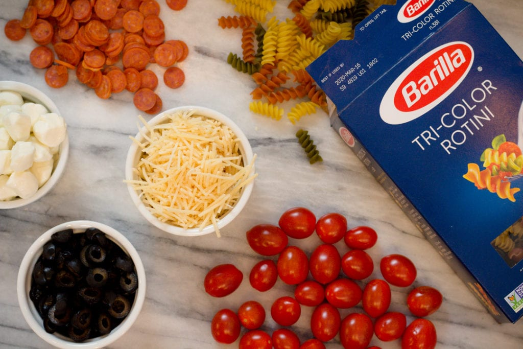 Ingredients, Pasta, Tomatoes, cheese, pepperoni, Olives