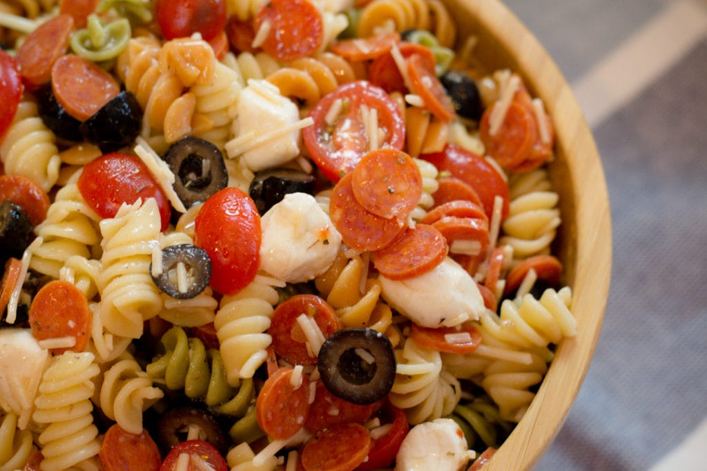 Close Up Pepperoni Pizza Pasta Salad in Bowl