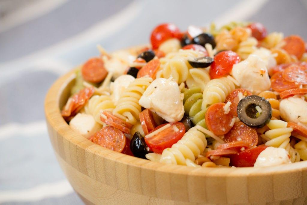 Pot Luck Pasta Salad in bowl