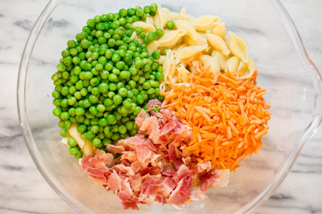 Pasta, Peas, Carrots, Bacon for Pasta Salad