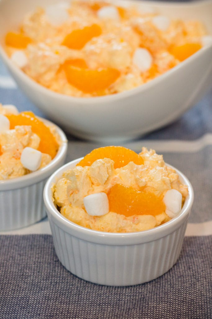 Creamsicle Orange Fluff Salad in small bowls