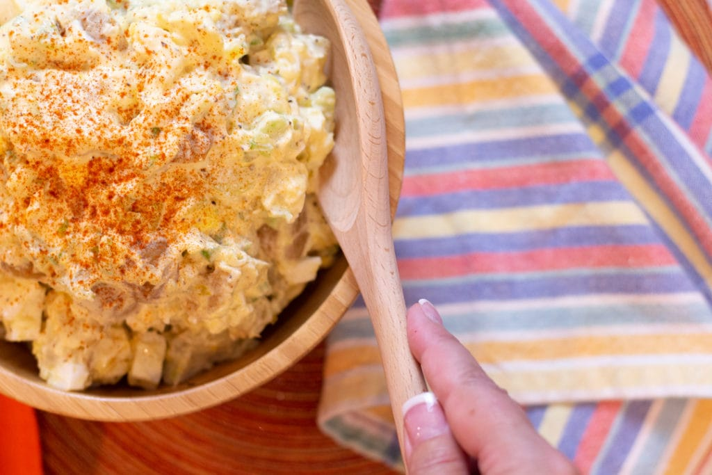 Potato Salad Recipe in bowl with spoon