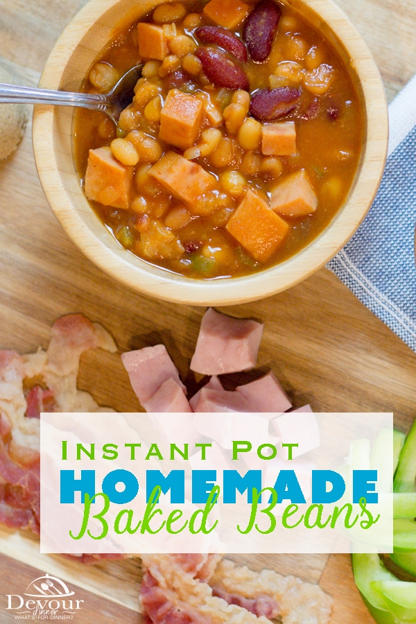 Making Homemade Baked Beans is easy in your Pressure Cooker or Crock Pot.  These Baked Beans are LOADED with flavor, packed with ham, bacon and beans.  They are a favorite family recipe.  Easy to make while camping too using a Dutch Oven.  #instantpot #instantpotrecipe #pressurecook #mealthy #multipot #dutchoven #camping #bakedbeans #bakedbeansrecipe #homemadebakedbeans #Easybakedbeans #easyrecipe #easysidedish #sidedishrecipe #crockpot #crockpotrecipe #food #foodie #recipe #recipes #yum #yummy