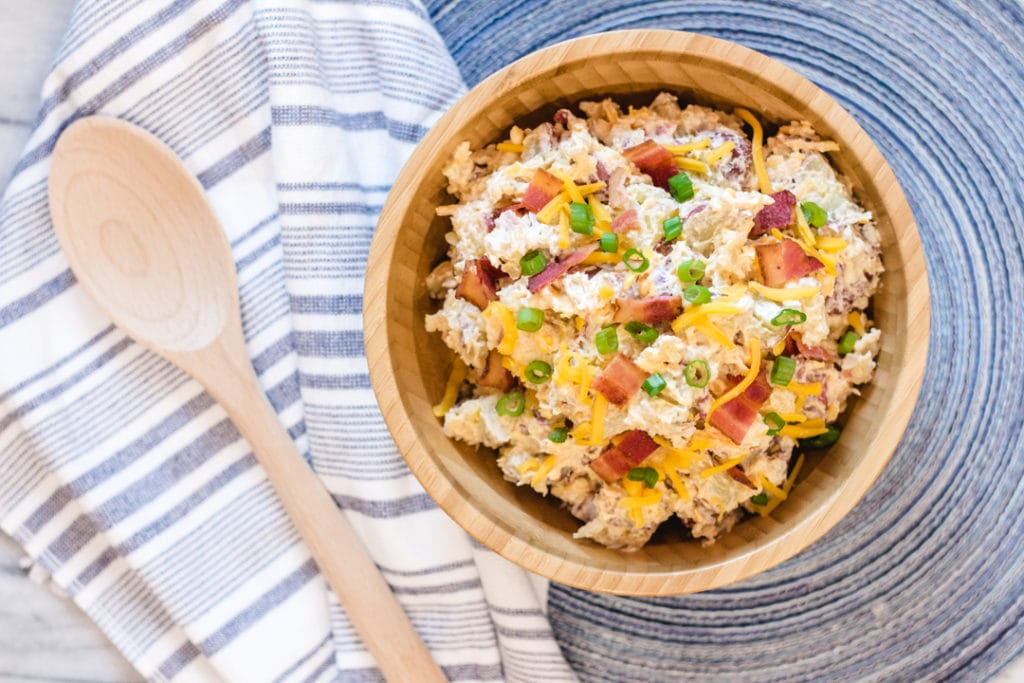 Red Potato Salad with bacon, cheese and green onions