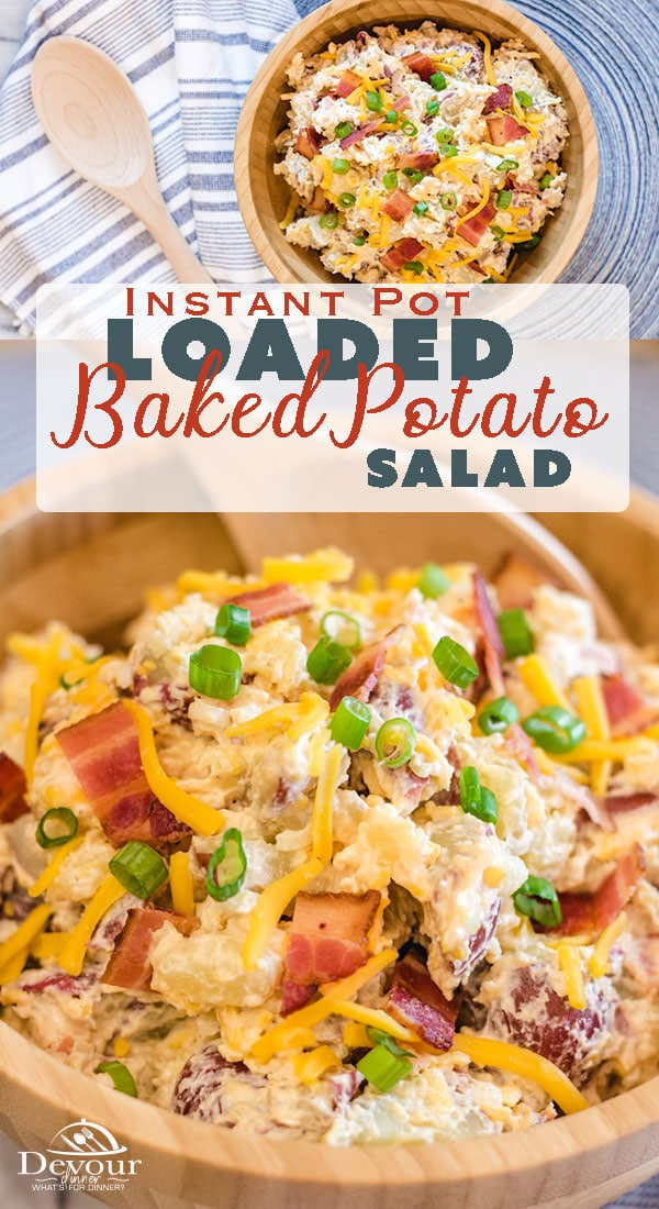 You know you love a good Loaded Baked Potato, so why not a Loaded Baked Potato Salad Recipe you can enjoy at ever BBQ all summer long! Red Potato Salad Recipe with Bacon, cheese, green onions and a delicious sauce. Perfect Potluck Salad Recipe #instantpot #pressurecooker #easyrecipe #sidedish #Potluck #potlucksalad #Potatosalad #Easypotatosaladrecipe #recipe #recipes #foodie #food #pressurecookerrecipe #instantpotrecipe #sidedishrecipe #potlucksaladrecipe #potato #bakedpotato #bakedpotatorecipe