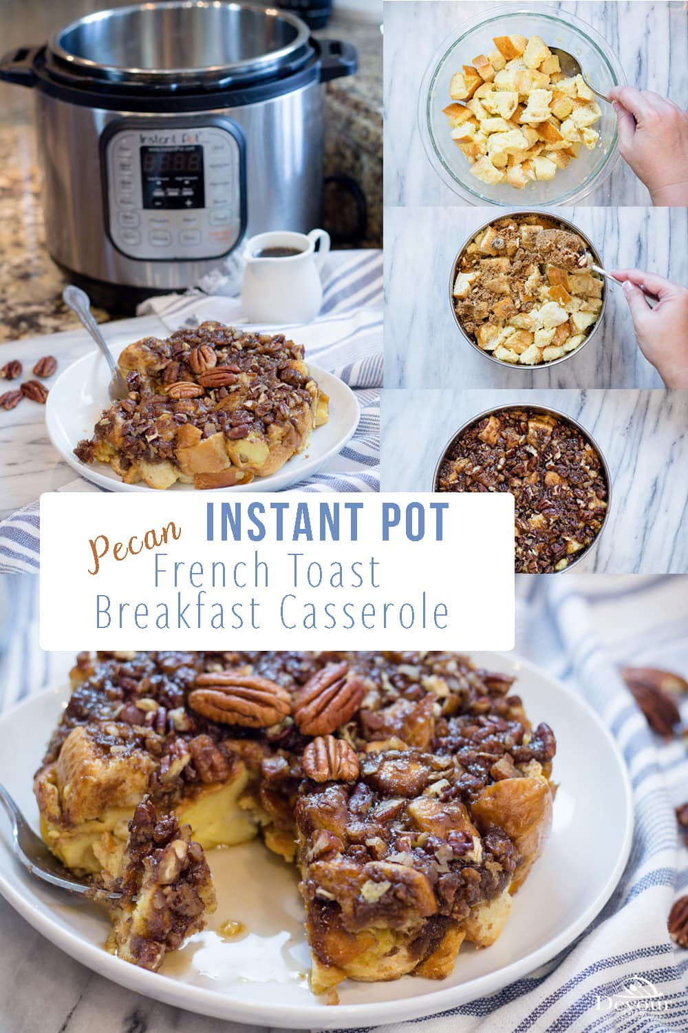 With all the Fall flavors this French Toast Breakfast Casserole stuffed with Cinnamon and Pecans is a favorite Instant Pot Breakfast. Your taste buds will be drooling over this easy Instant Pot Breakfast Casserole made using the Pot in Pot method. Using an egg and milk base with french bread and topped with a pecan filled brown sugar cinnamon crumble. #instantpot #instantpotrecipe #yum #breakfast #breakfastrecipe #devourdinner #easybreakfast #recipe #recipes #easybreakfastrecipe #food #foodie